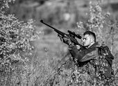 Hunting And Trapping Seasons. Bearded Serious Hunter Spend Leisure Hunting. Hunter Hold Rifle. Man W poster