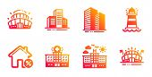 Hotel, Buildings And Skyscraper Buildings Line Icons Set. Lighthouse, Arena Stadium And Hospital Bui poster