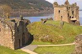 Castle At Loch Ness In Scotland