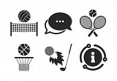 Basketball Basket. Chat, Info Sign. Tennis Rackets With Ball. Volleyball Net With Ball. Golf Firebal poster