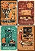 Basketball Game Sport Club Players With Vector Halftone Orange Balls, Basket And Hoop On Court, Scor poster