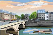 Colorful Vector Illustration Of Pont Saint Michel Bridge, Landmark Of Paris, France. Cityscape With  poster