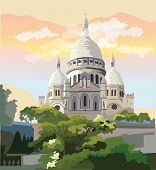 Colorful Vector Illustration Of Montmartre, Landmark Of Paris, France. Cityscape With Basilica Sacre poster