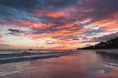 Colorful Clouds At Sunrise Over Atlantic Ocean Coast, Bavaro Beach, Dominican Republic, Natural Coas poster