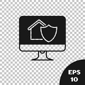 Black Computer Monitor With House Under Protection Icon Isolated On Transparent Background. Protecti poster