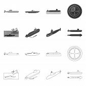 Isolated Object Of War And Ship Icon. Collection Of War And Fleet Stock Symbol For Web. poster