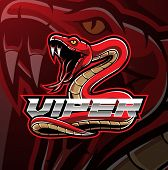Viper Snake Mascot Logo Design With Text poster
