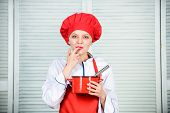 Butter Cream. Whipping Cream Tips And Tricks. Use Hand Whisk. Woman Chef Hold Whisk And Pot. Girl In poster