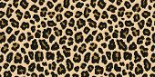 Leopard Print. Vector Seamless Pattern. Animal Jaguar Skin Background With Black And Brown Spots On  poster