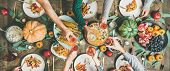 Friends Clinking Glasses At Thanksgiving Day, Wide Composition poster