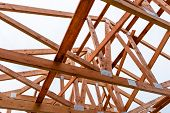 Roof Trusses Not Covered With Ceramic Tile On A Detached House Under Construction, Visible Roof Elem poster