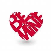 Red heart with script â??be mineâ? on white. Vector illustration.