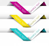 Set of Vector Paper origami ribbon (horizontal purple, yellow, blue)