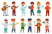 Kids Workers. Child Professional Uniform, Policeman Kid And Baby Job Professions. Children Character poster