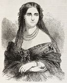 Laure Cinti-Damoreau old engraved portrait (French soprano). Created by Janet-Lange, published on L'