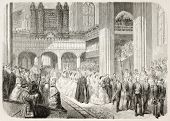 Prince of Wales wedding in Windsor chapel, old illustration (Edward VII and Alexandra of Denmark). By Godefroy-Durand after Blanchard, published on L'Illustration, Journal Universel, Paris, 1863