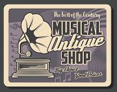 Retro Musical Instruments Shop And Antique Music Salon Vintage Poster. Vector Music Notes, Phonograp poster
