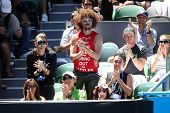 MELBOURNE,  VC - JANUARY 23: Stefan Gordy of LMFAO in the crowd during an Australian Open match at R