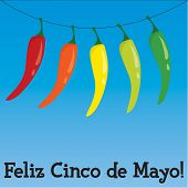 image of jalapeno peppers  - Cinco de Mayo chili pepper greeting cards in vector format - JPG