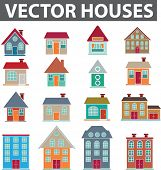 Vector casas iconos set, vector