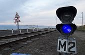 Baikal Railway. Baikal Port - harbor . Blue traffic signal prohibit maneuvers