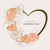 Happy Valentine's Day background, greeting card or gift card with heart shape decorated with flowers