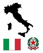black map of Italyf flag and the arms