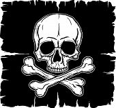 image of skull crossbones flag  - Skull and Crossbones over black flag - JPG