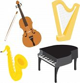 Cartoon music instruments set
