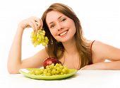 Постер, плакат: Красивая женщина с яблоко и виноград