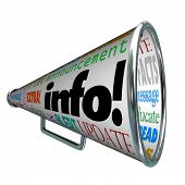 A megaphone or bullhorn featuring the word Info and many other words related to communication such a