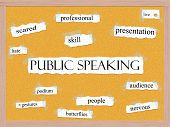 Public Speaking Corkboard Word Concept