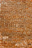 stock photo of mortar-joint  - A very old red brick and grey mortar wall - JPG