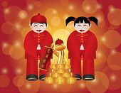 stock photo of chinese new year 2013  - Chinese Lunar New Year 2013 Boy and Girl and Snake with Gold Bars and Banner Text Wishing Happiness and Prosperity on Bokeh Background Illustration - JPG