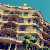 BARCELONA, SPAIN - MAY 23: Casa Mila, or La Pedrera, on May 23, 2010 in Barcelona, Spain. This famou