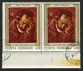 ROMANIA - CIRCA 1990: A stamp printed in Romania shows painting of Stefan Luchian (1868-1917),  Romanian painter, circa 1990.