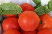 stock photo of regrouping  - closeup of a group of fresh tomatoes - JPG
