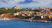 stock photo of historical ship  - Istanbul panorama From the Galata Tower - JPG