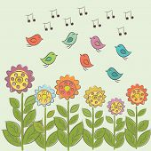 Art illustration with sing birds and flowers.