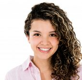 Happy casual woman smiling - isolated over white background