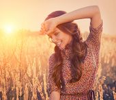 picture of fall-wheat  - Beauty Romantic Girl Outdoors - JPG
