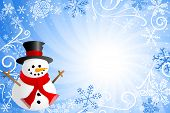 image of snow border  - vector illustration of a blue christmas background with a snowman - JPG