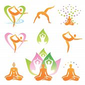 foto of guru  - Icons of yoga positions - JPG