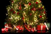 Colorful gifts and presents under a beautiful christmas tree