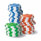 Casino chips stacks. Transparency used
