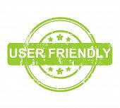 Green user friendly stamp with stars isolated on a white background.