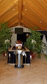 stock photo of empty tomb  - Photo of an empty coffin in the room - JPG