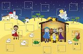 picture of desert christmas  - a illustration for advent calendar with nativity - JPG