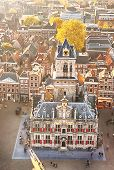 Top View Of The City Hall Of Delft, Holland