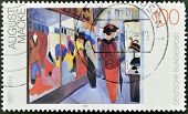 stamp printed in Germany showsthe painting